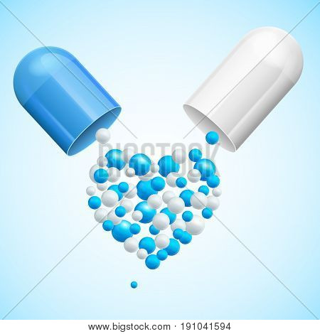 Medical Health Care Concept Polls with Heart Symbol Science Pharmacology. Vector illustration