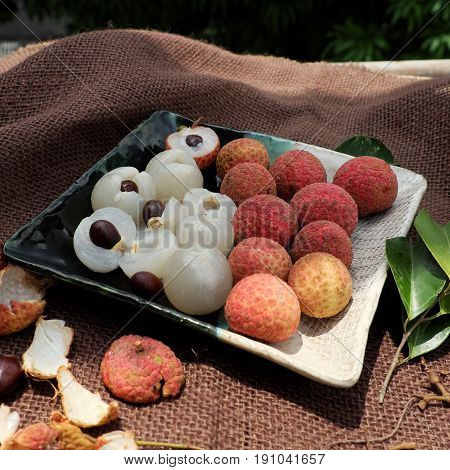 Plate Of Fruit, Litchi With Juicy Pulp