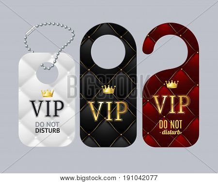 Vip Door Labels Set Do Not Disturb for Hotel Room with Quilted Pattern. Vector illustration