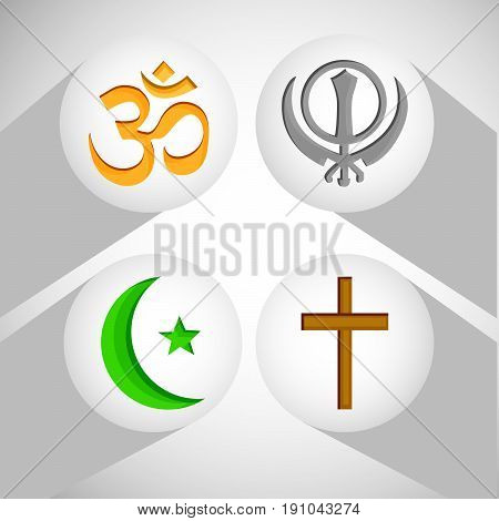 illustration of symbol of different religion cross, om, sikh, moon and star