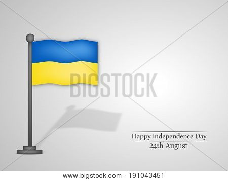 illustration of Ukraine's Flag with Happy Independence Day 24th August text