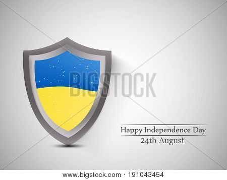 illustration of shield in Ukraine's Flag background with Happy Independence Day 24th August text