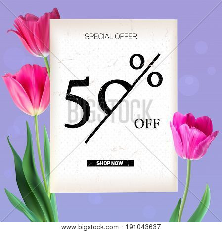 Selling ad banner, vintage text design. Holiday discounts, sale background with beautiful colorful tulips. Template, mock-up for online shopping, advertising actions with percentage of discounts.
