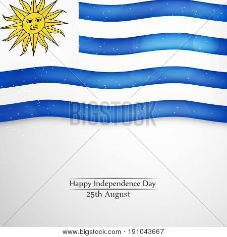 illustration of Uruguay flag background with Happy Independence day 25th August text