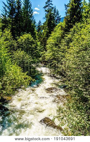 The fast flowing waters of Joffre Creek just before it flows into Lillooet Lake along the Duffy Lake Road, Highway 99, between Pemberton and Lillooet in southern British Columbia