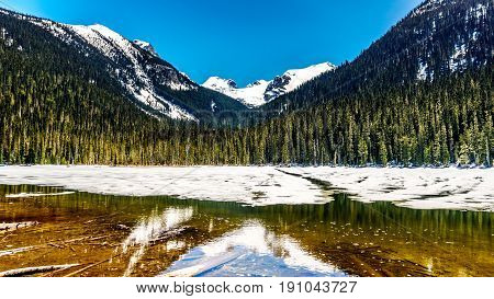 View of the still partly frozen Lower Joffre Lake in the Coast Mountain Range along the Duffey Lake Road, Highway 99, between Pemberton and Lillooet in southern British Columbia
