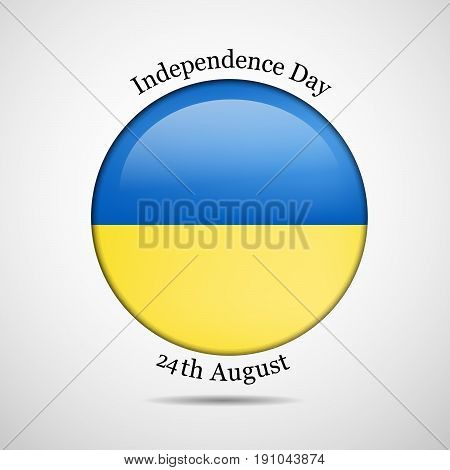 illustration of button in Ukraine's Flag background with Independence Day 24th August text on the occasion of Ukraine Independence day