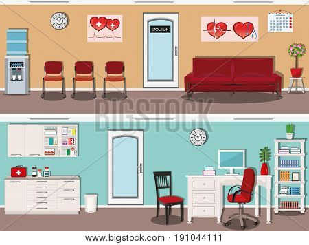 Waiting hall in the hospital with chairs, comfortable sofa, lamps and water cooler. Doctor office with medical cabinet, chairs, desk and bookcase. Flat style vector illustration.