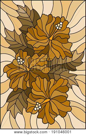 Illustration in stained glass style with flowers and leaves of hibiscus tone brown sepia