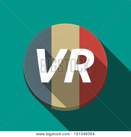 Long Shadow  Round Button With    The Virtual Reality Acronym Vr
