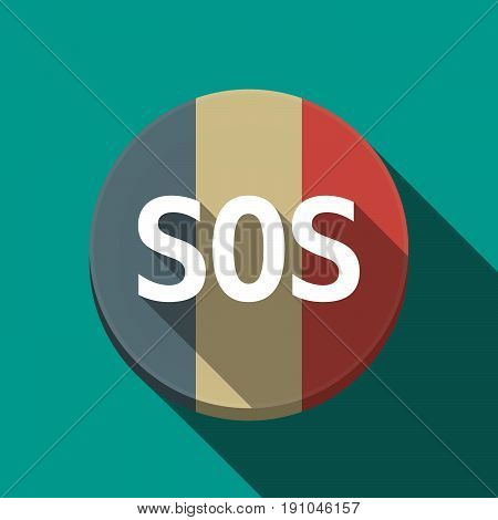 Long Shadow  Round Button With    The Text Sos
