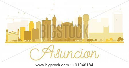 Asuncion City skyline golden silhouette. Simple flat concept for tourism presentation, banner, placard or web site. Business travel concept. Cityscape with landmarks.