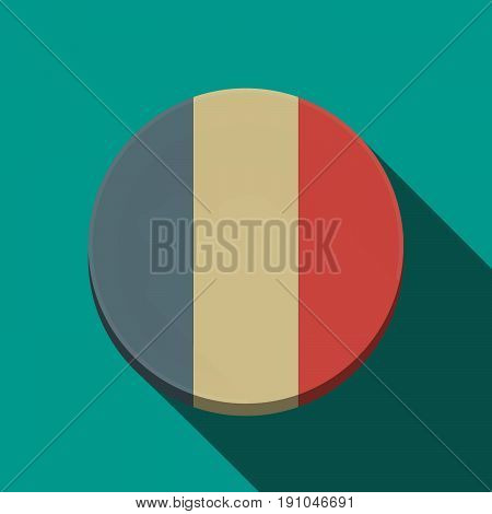 Long Shadow  Round Button With    The Text Bbq