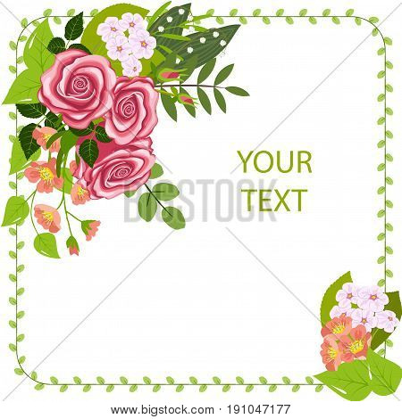 Greeting card, corner flower composition, three roses, branches of flowering dogrose and cherry, lily of the valley flowers and leaves, isolated on white background, vector illustration