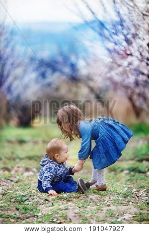 The girl helps her younger brother to rise to their feet after falling in a blooming apricot garden