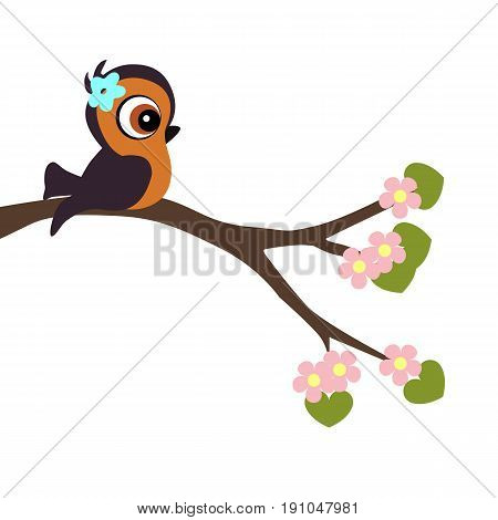 children's poster cartoon style bird on a blossoming tree branch. template for greeting card. baby shower or arrival. vector illustration