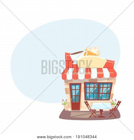 Cafe shop front. Street local cafeteria building. European bar facade. Cartoon vector illustration. Exterior with outside table and chair