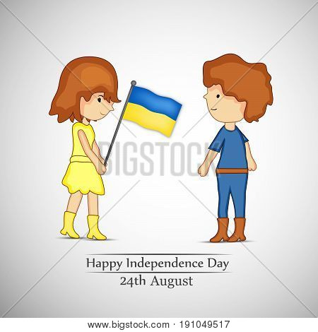 illustration of a girl holding Ukraine's Flag and boy with Happy Independence Day 24th August text on occasion of Ukraine Independence day