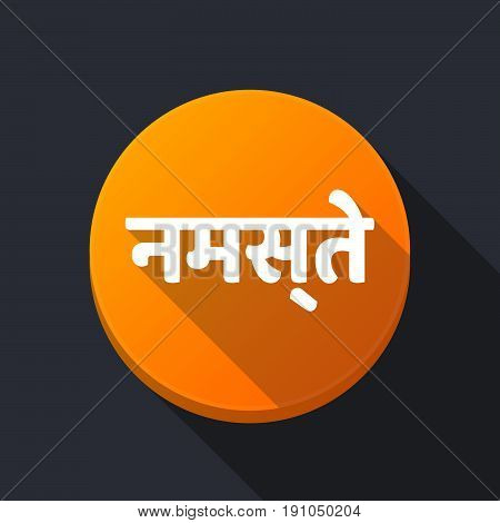 Long Shadow Button With  The Text Hello In The Hindi Language