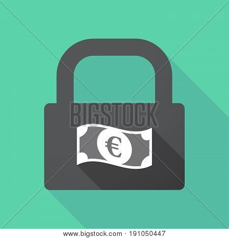 Long Shadow Lock With  An Euro Bank Note