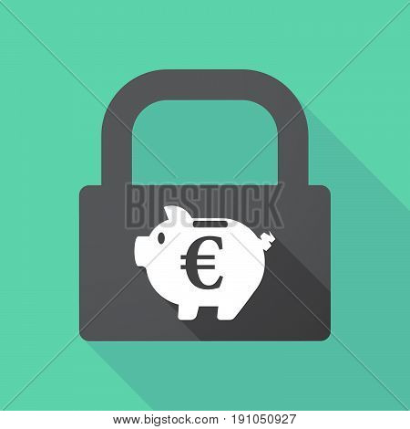 Long Shadow Lock With  An Euro Coin In A Piggy Bank Moneybox
