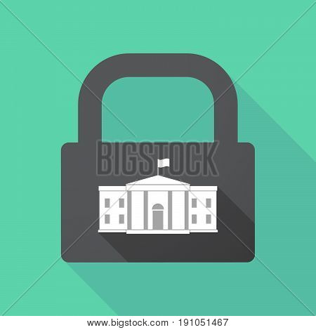 Long Shadow Lock With  The White House Building