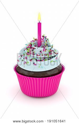 3D Render Of Sweet Cupcake With Sprinkles And Candle