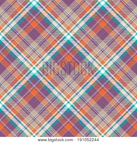 Abstract check plaid cotton texture seamless pattern. Flat design. Vector illustration.
