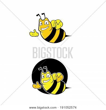 Bee. Bee icon. The isolated symbol of a bee against from honeycombs. Honey bee. Isolated insect icon. Vector illustration flying bee in flat style. Flying bee.