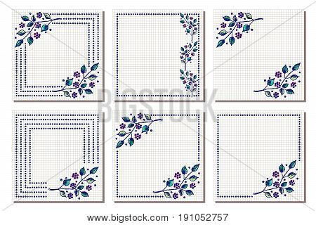 Set Of Vector Floral Frame, Card, Border. Greeting Cards. Different Template With Colorful Hand Draw