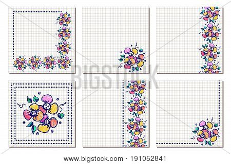 Set vector floral vector photo free trial bigstock greeting cards different template with colorful hand drawn flowers and leaves graphic illustration vector design series of cards blanks and forms m4hsunfo
