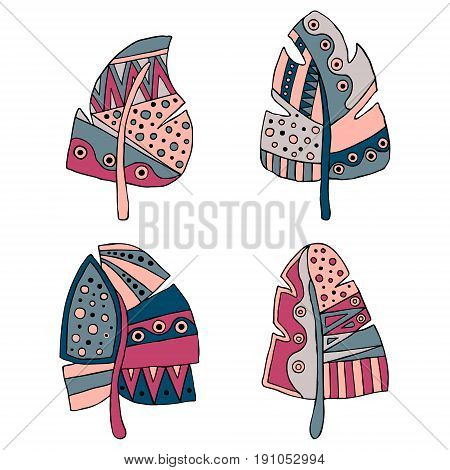 Set Of Vector Hand Drawn Decorative Stylized Childish Feather In Blue, Pink Colors. Doodle Style, Gr