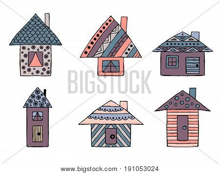 Set Of Vector Hand Drawn Decorative Stylized Childish Houses. Doodle Style, Graphic Illustration. Or