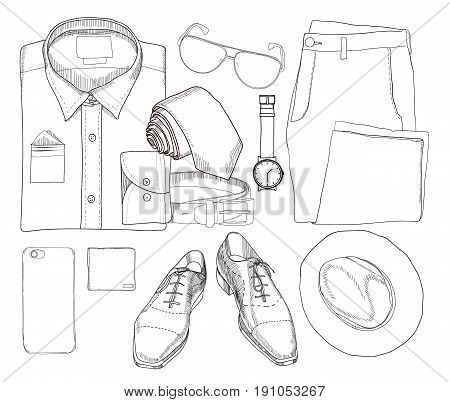 Vector illustration of Hand drawn and doodle of top view, flat lay coordination folded shirt, tie, trousers, shoes, spectacles, phone, clock, hat, purse and belt. Mens set on white background. Template for brochure, journal, flayer with trend design.