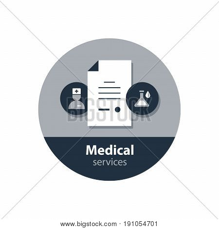 Health care and medicine services icon. Consulting and treatment program. Flat design vector illustration