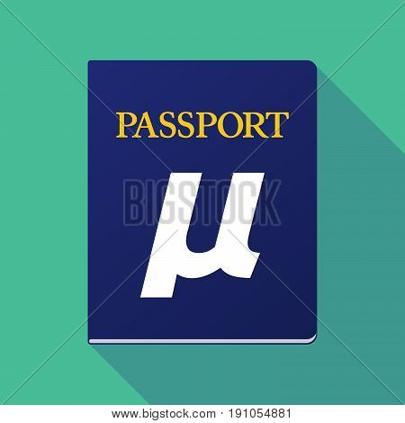 Long Shadow Passport With  A Micro Sign, Mu Greek Letter