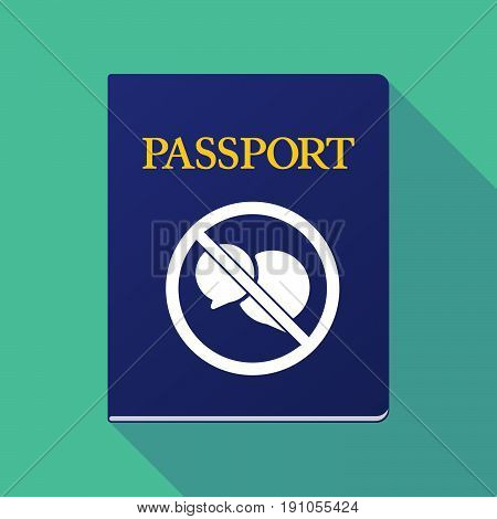 Long Shadow Passport With  Two Comic Balloons  In A Not Allowed Signal