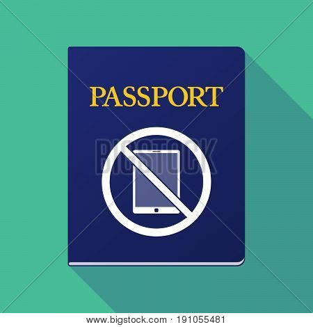 Long Shadow Passport With  A Tablet Pc  In A Not Allowed Signal