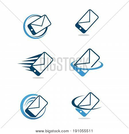 Mobile message icon. Smartphone icon. Mobile message logo. Mobile message symbol. Smartphone with text box icon isolated minimal design. Vector illustration
