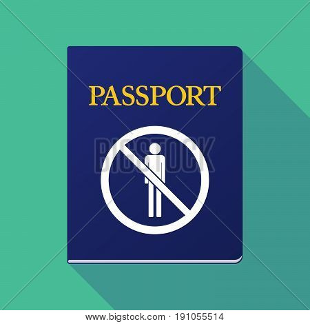 Long Shadow Passport With  A Male Pictogram  In A Not Allowed Signal
