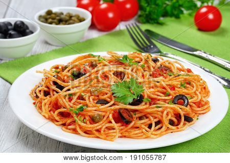 Pasta With Tomato, Capers, Anchovy And Olives