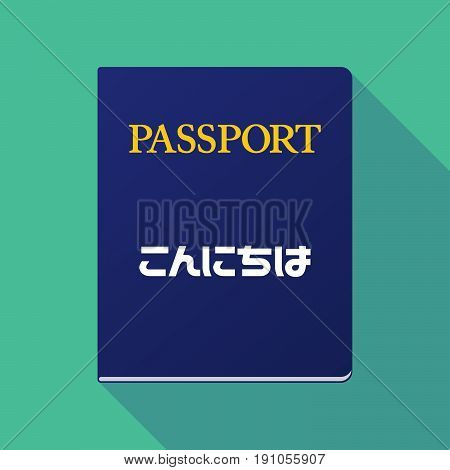 Long Shadow Passport With  The Text Hello In The Japanese  Language