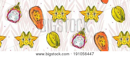 Hand drawn vector abstract freehand textured unusual seamless pattern with exotic tropical fruits papaya, dragon fruit, coconut, carambola and palm leaves isolated on white background