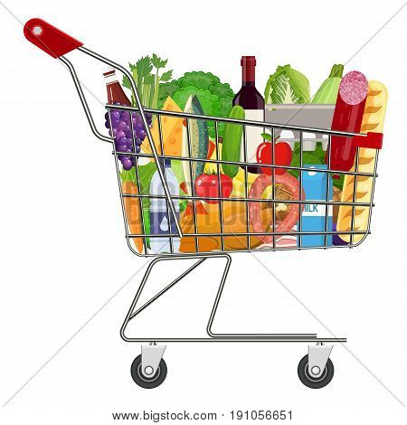 Metal shopping cart full of groceries products. Grocery store. vector illustration in flat style.