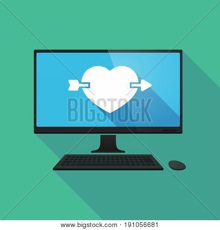 Long Shadow Computer With  A Heart Pierced By An Arrow
