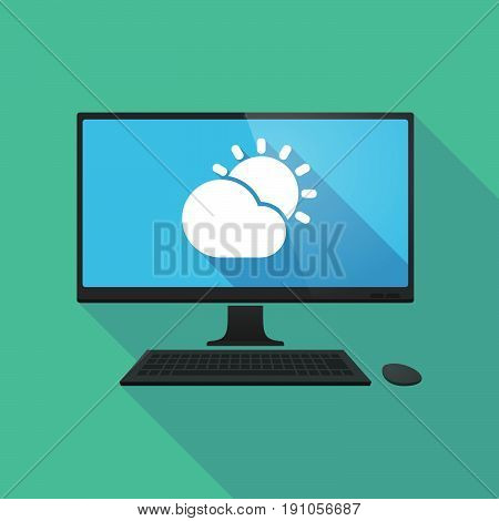 Long Shadow Computer With  The Sun Shining Behind A Cloud