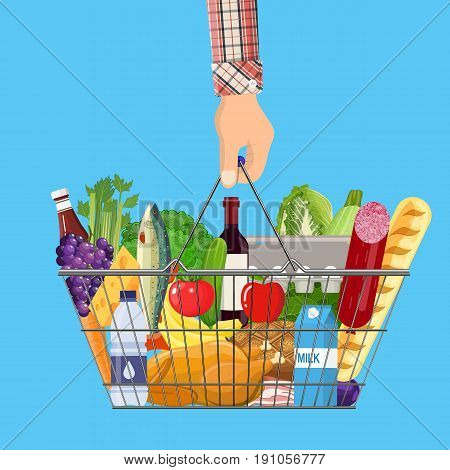 Metal shopping basket full of groceries products in hand. Grocery store. illustration in flat style