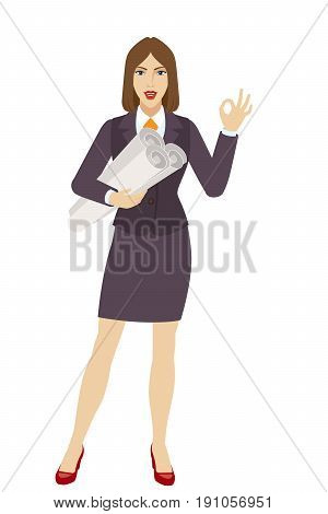 Businesswoman holding the project plans and showing a okay hand sign. Full length portrait of businesswoman character in a flat style. Vector illustration.