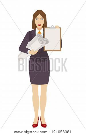 Businesswoman holding the project plans and clipboard. Full length portrait of businesswoman character in a flat style. Vector illustration.