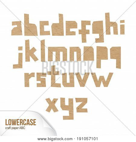 Rough lowercase characters cut out of craft paper. Cardboard small letters. Vector carton ABC on white background